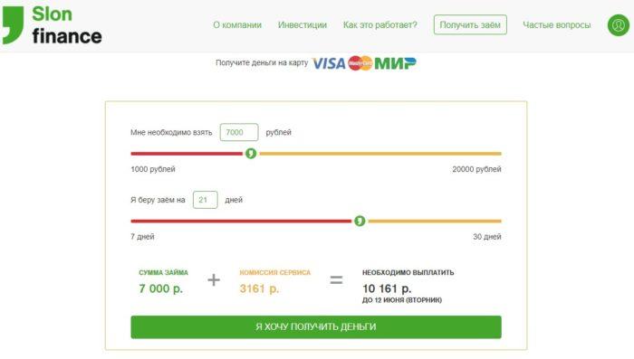 Заем 20000 рублей в МФК Слон Финанс
